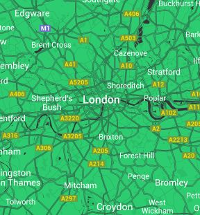 Covering London and most of the surrounding areas
